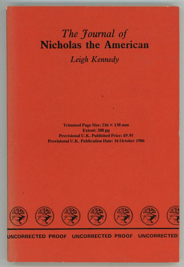 The Journal of Nicholas the American by Leigh Kennedy (Proof)