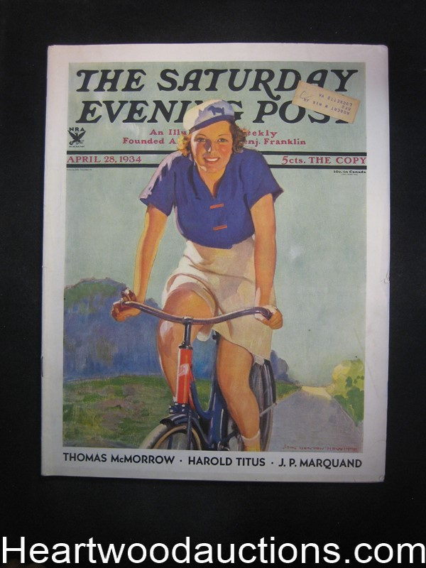 Saturday Evening Post Apr 28, 1934 John Newton Howitt Cvr, Oppenheim, JP Marquand