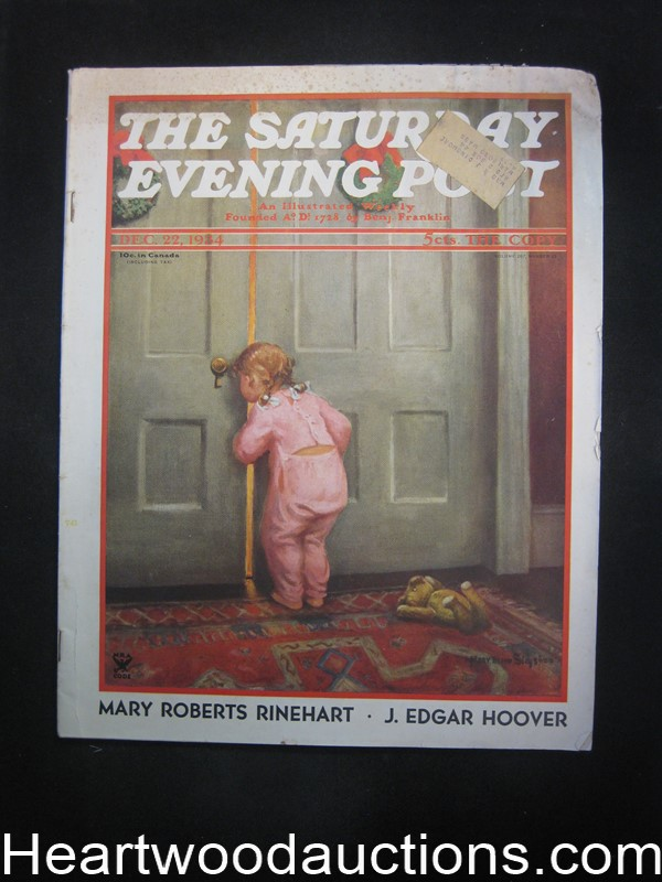 Saturday Evening Post Dec 22, 1934 Norman Rockwell painting, Mary Roberts Rinehart,  J. Edgar Hoover