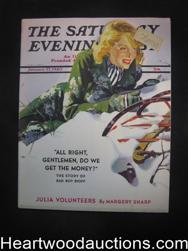 Saturday Evening Post Jan 27, 1940 Norman Rockwell Int Art, Margery Sharp - High Grade