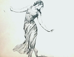 Original Signed Art Roy G. Krenkel 'The Dancer' Ink Study, 1950s