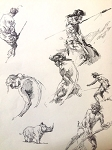 Tarzan Original Art by Roy G. Krenkel, page of ink studies c 1960