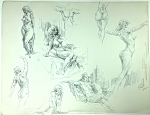 Original Art by Roy G. Krenkel 'Large Page of Nudes' SIGNED 18 x 12