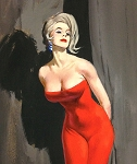 Limited Edition Print NYC Pulp Artist Ernest Chiriacka 'Lady in Red' 24