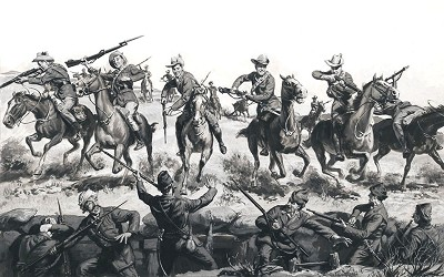 "Norman Saunders Original Art- ""CHARGE TO GLORY"""