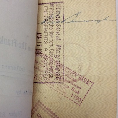 "1914  Signed check paid from The Frank A. Munsey Company to  Edgar Rice Burroughs for ""Nu of the Neocene"""