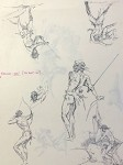 Roy G. Krenkel Original Art -  Double Sided Page of Tarzan Studies for Production in ink 8-1/2  x 11