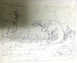 Roy G. Krenkel Original Art  - Gorgosaurus Attacking Styracosaurs -  9