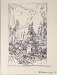 Roy G. Krenkel Original Art  - ER Edison Layout , iconic city scene in ink, titled 8-1/2